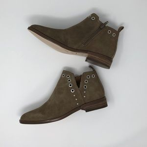 Corso Como Taupe Suede Studded Grommet Booties